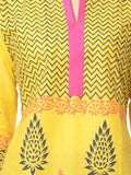 Yellow Block Print Cotton Kurta From Jaipur - NPJRKL18APL5