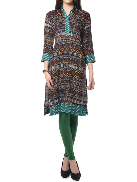 Multi Color Printed Rayon Kurta From Jaipur - NPJRKL7FB25