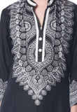 Black Block Print Rayon Kurta From Jaipur - NPJRKL7FB29