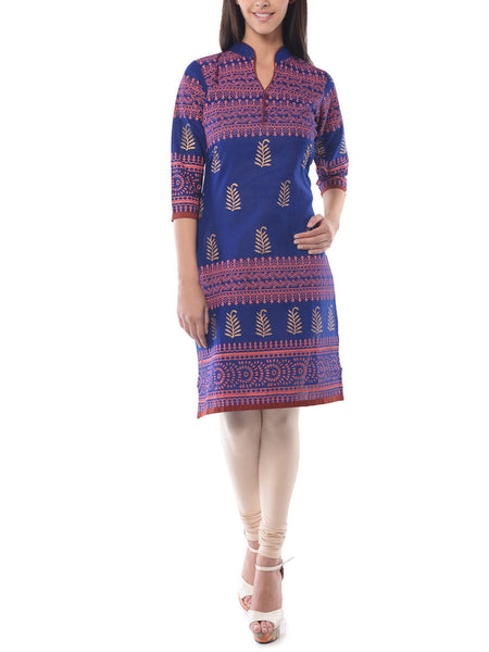 Blue Block Print Cotton Kurta-NPJRKL19JN19