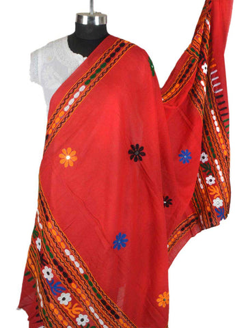 Red Cotton Kutch Embroidery Dupatta (Hand Work) - ND-CPKD11MA2