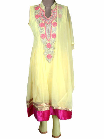 Net Fabric Jarkan Embroidery Anarkali In Light Yellow - NE-LSF11MH4