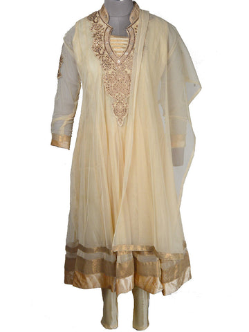 Net Fabric Jarkan Embroidery Anarkali In Cream - NE-LSF11MH7