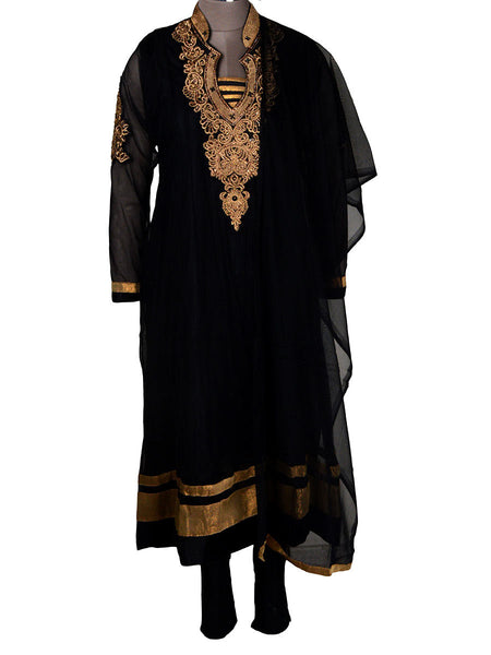 Net Fabric Jarkan Embroidery Anarkali In Black - NE-LSF11MH9