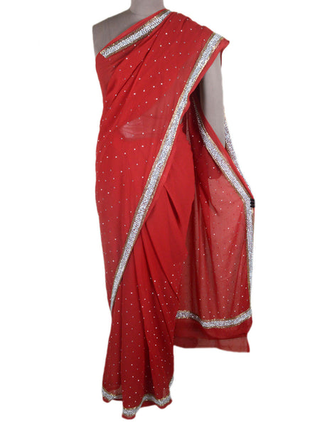 Hand Crafted Zardozi Work Georgette Saree From Lucknow In Red - NE-LSSA2AP3
