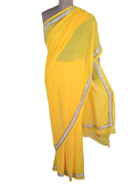 Hand Crafted Zardozi Work Georgette Saree From Lucknow In Yellow - NE-LSSA2AP4