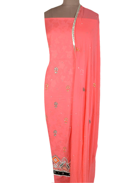 Cotton Silk Zardozi Embroidered Suit From Lucknow In Salmon Pink - NE-LSST26MA15