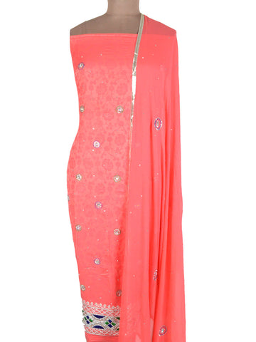 Cotton Silk Zardozi Embroidered Suit From Lucknow In Brink Pink - NE-LSST26MA26