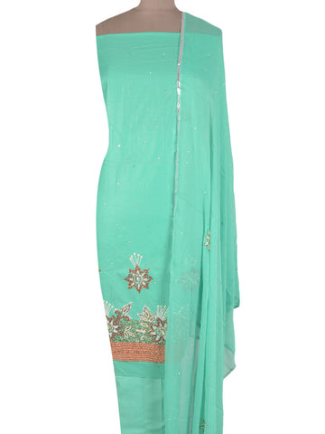 Cotton Silk Zardozi Embroidered Suit From Lucknow In Sky Blue - NE-LSST26MA5
