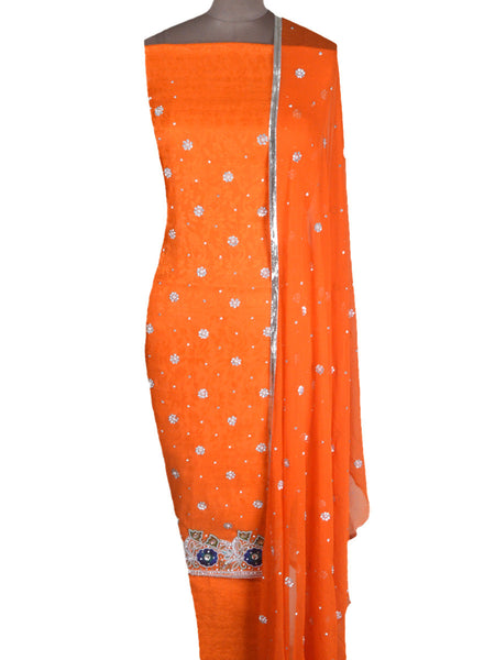 Cotton Silk Zardozi Embroidered Suit From Lucknow In Dark Orange - NE-LSST28MH7-2