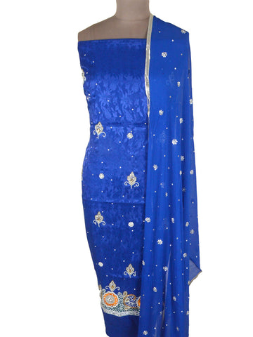 Zardozi Embroidered Suit From Lucknow In Blue - NLSST6AP8