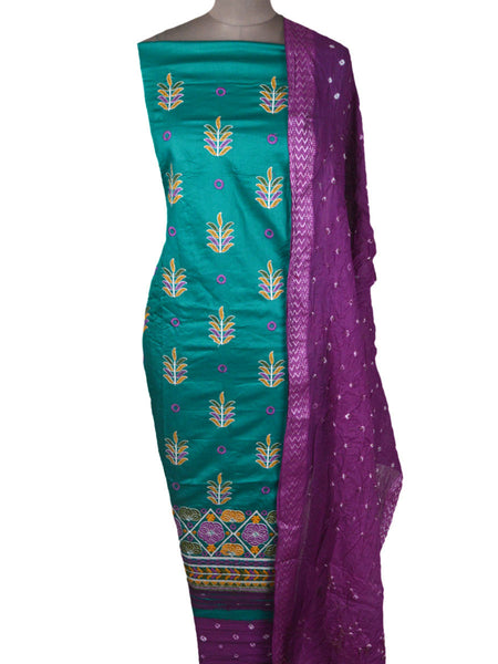 Embroidered Cotton Suit From Gujarat In Bondi Blue - NPKGS14MH16