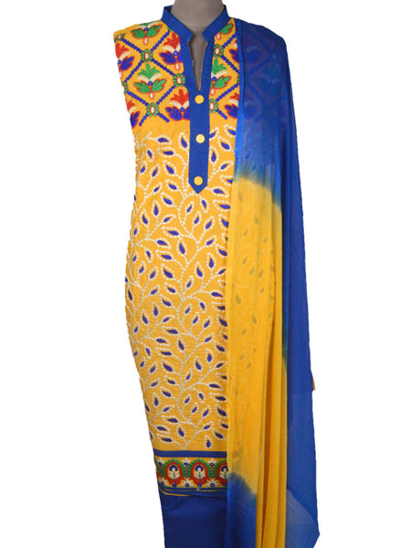 Embroidered Cotton Suit From Gujarat In Yellow - ND-PKGS14MH2