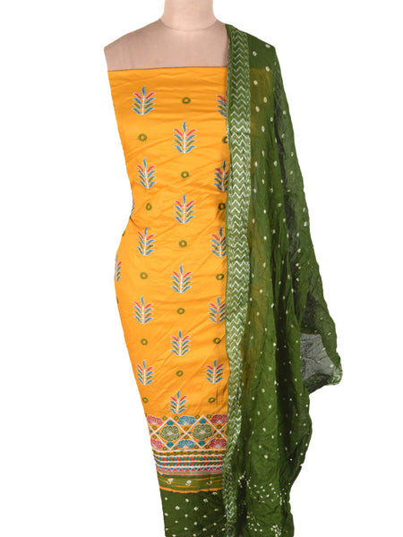 Embroidered Cotton Suit From Gujarat In Yellow - ND-PKGS14MH5