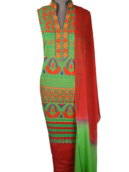 Embroidered Cotton Suit From Gujarat In Mint - ND-PKGS14MH7