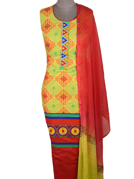Embroidered Cotton Suit From Gujarat In Yellow-Green & Red - ND-PKGS5FBY20