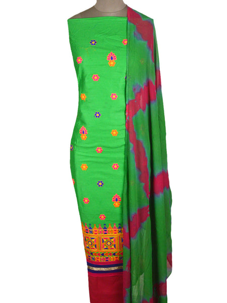 Embroidered Cotton Suit From Gujarat In Mint Green - ND-PKGS5FBY7