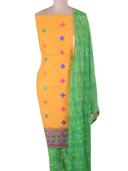 Embroidered Cotton Suit From Gujarat In Yellow & Green - ND-PKGS29AP5