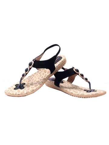 Women's Sandals From Agra In Black - SA-RUSA23MA4