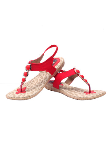 Women's Sandals From Agra In Red - SA-RUSA23MA5