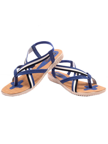 Women's Sandals From Agra In Blue - SA-RUSA23MA7