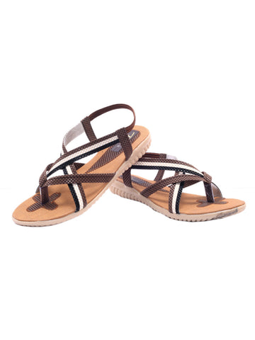 Women's Sandals From Agra In Brown - SA-RUSA23MA8
