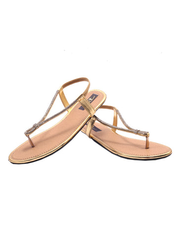 Women's Sandals From Agra In Gold - SA-RUSA23MA9