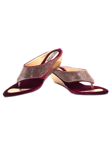 Women's Wedges From Agra In Maroon - SA-RUSA23MA14