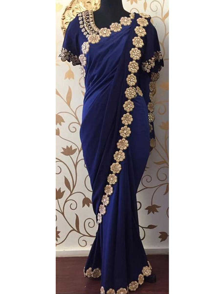 Designer Saree With Heavy Border In Blue - AE-PDS30AG11