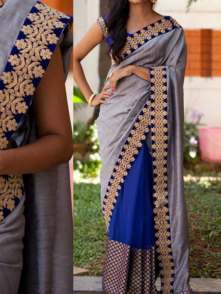 Designer Saree With Heavy Border In Grey-Blue - AE-PDS30AG13