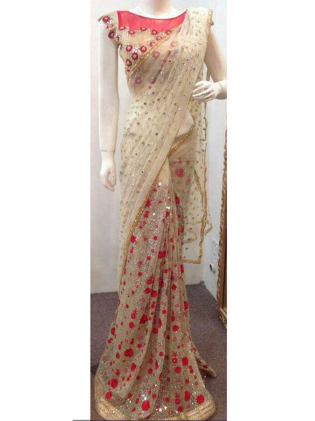 Designer Saree With Heavy Border In Beige - AE-PDS30AG14