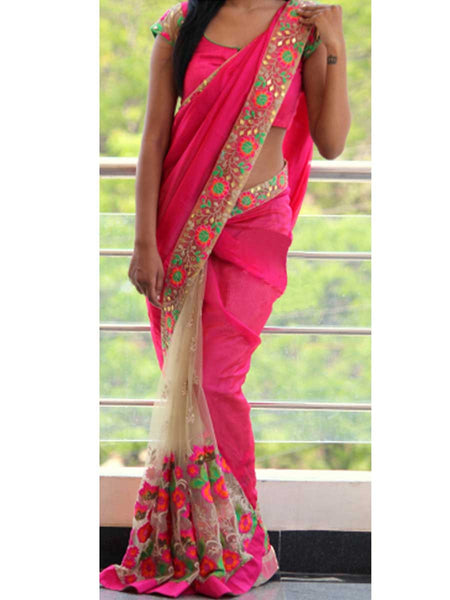 Designer Saree With Heavy Border In Pink-Beige - AE-PDS30AG17