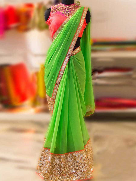 Designer Saree With Heavy Border In Green - AE-PDS30AG18