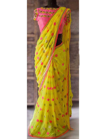 Designer Saree With Heavy Border In Yellow - AE-PDS30AG20