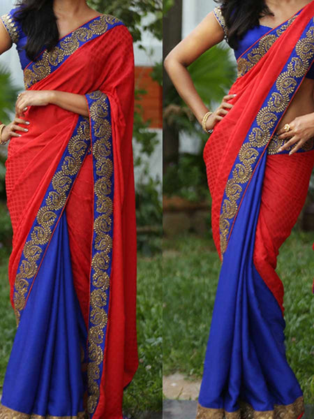 Designer Saree With Heavy Border In Red-Blue - AE-PDS30AG7