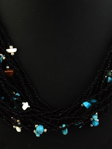 Necklace Moradabad With Beads In Black-CHUJN28J31