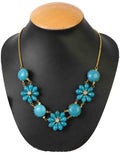 Moradabad Beads Necklace In Golden & Sky Blue-CHUJN2MY6