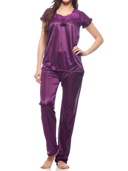 Top & Pajama Set From Mumbai In Plum - MPNMS31MH1