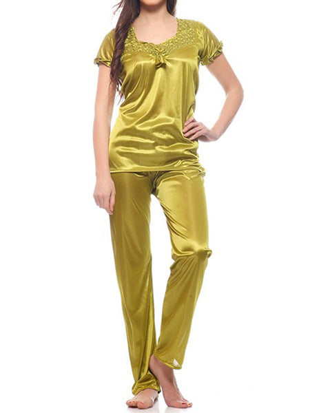 Top & Pajama Set From Mumbai In Olive Green - MPNMS31MH5