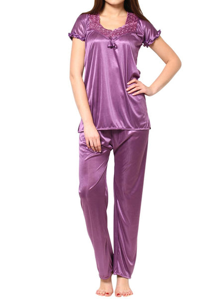 Top & Pajama Set From Mumbai In Purple - MPNMS31MH7