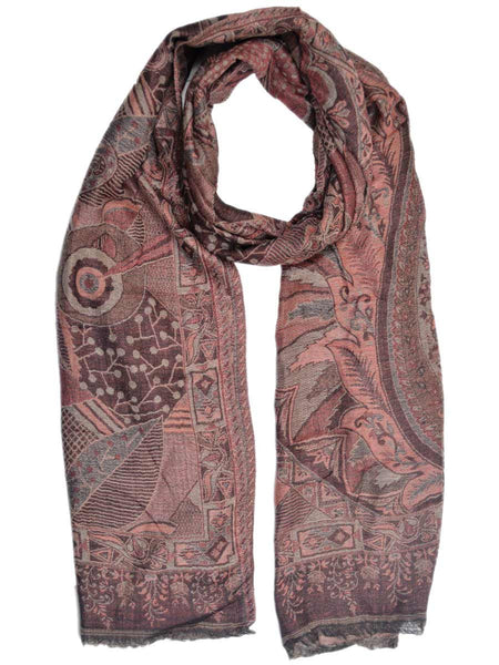 Cashmere Stole In Beaver Brown From Kashmir - OCKHS19NR10