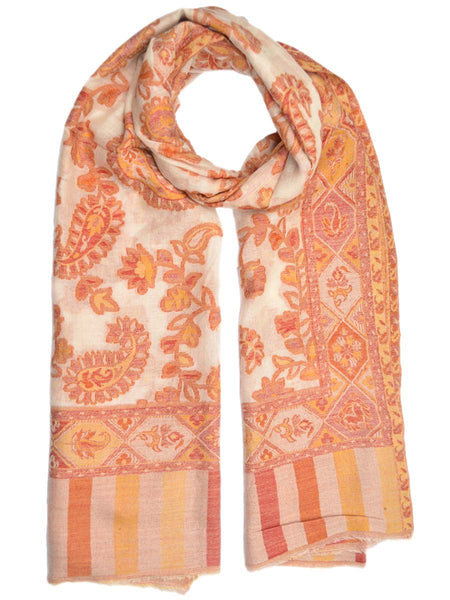 Cashmere Stole In Multi Color From Kashmir - OCKHS19NR16