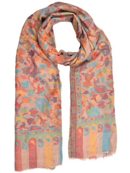 Cashmere Stole In Multi Color From Kashmir - OCKHS19NR17