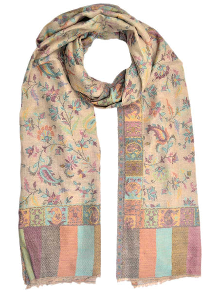 Cashmere Stole In Multi Color From Kashmir - OCKHS19NR18