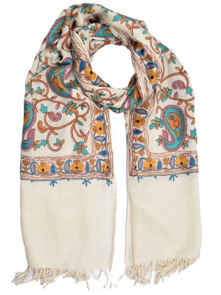 Cashmere Stole In White From Kashmir - OCKHS19NR26