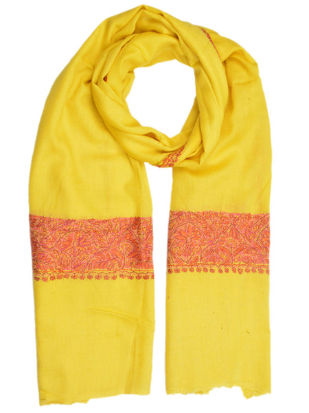 Cashmere Stole In Yellow From Kashmir - OCKHS19NR32