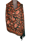 Cashmere Stole In Dark Green From Kashmir - OCKHS19NR46