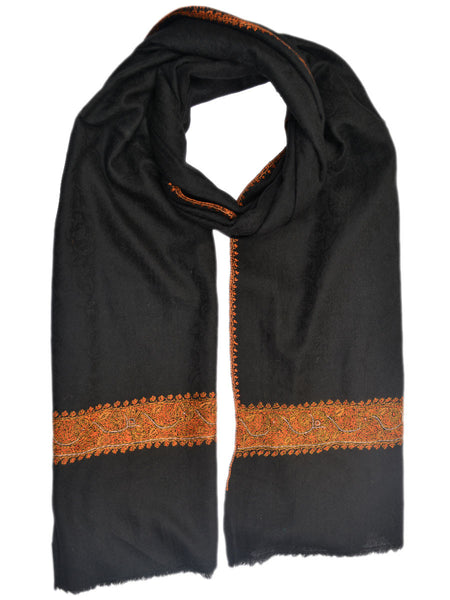 Cashmere Stole In Black From Kashmir - OCKHS19NR52