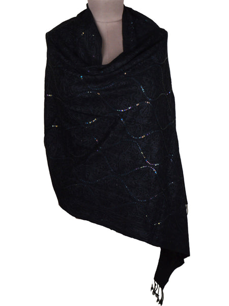 Cashmere Stole In Black From Kashmir - OCKHS19NR53