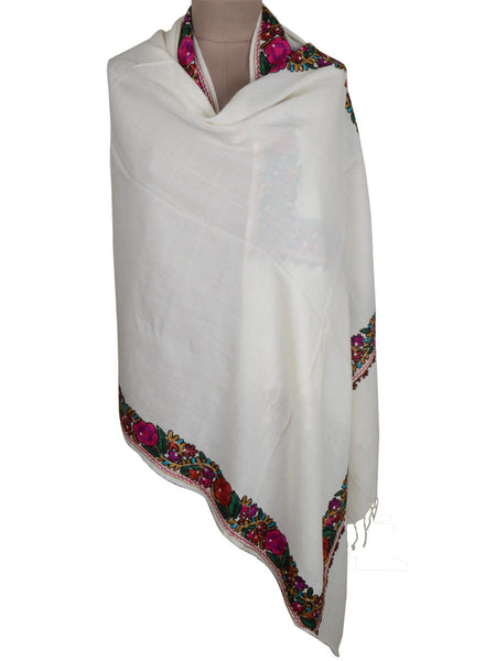 Cashmere Stole In White From Kashmir - OCKHS19NR58